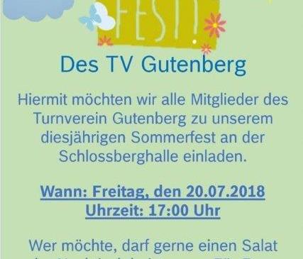 Sommerfest TVG am 20.Juli 2018